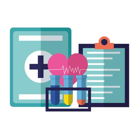 medical flasks kit and heart clipboard vector illustration