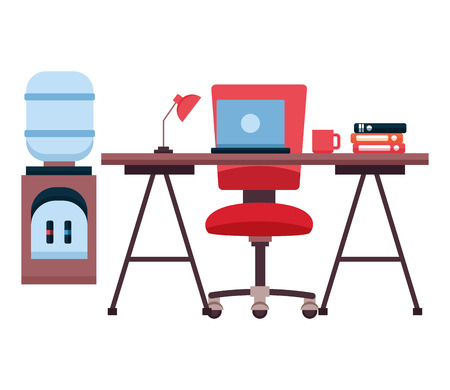 desk laptop chair water dispenser books coffee cup workplace office furniture vector illustration Ilustrace