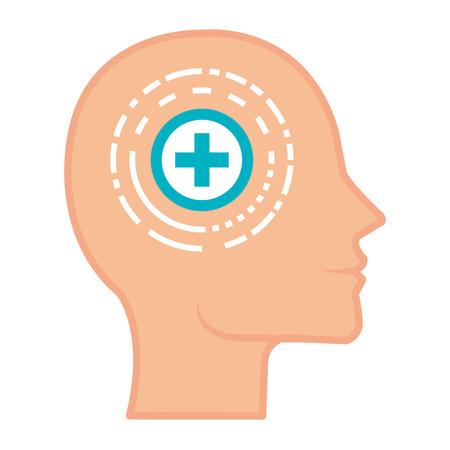 head profile with pluss symbol vector illustration design Иллюстрация