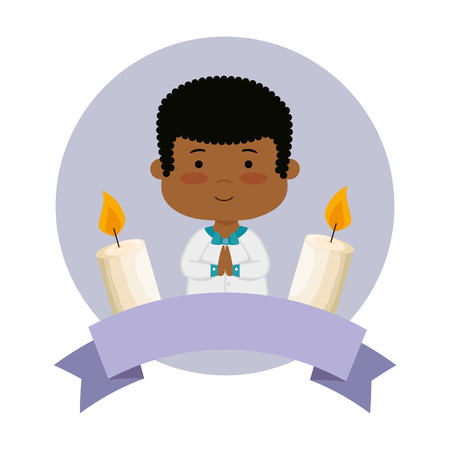 little black boy with ribbon and candles first communion vector illustration design Banque d'images - 122707858