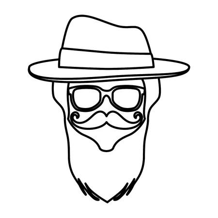 male face with tophat hipster style vector illustration design