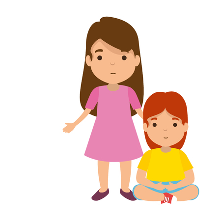 mother with daughter characters vector illustration design 스톡 콘텐츠 - 122710791
