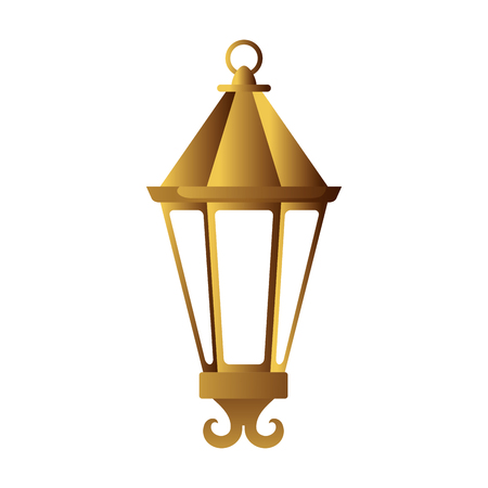 ramadan kareem golden lamp hanging vector illustration design