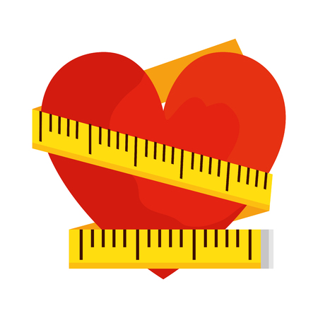 heart with tape measure vector illustration design