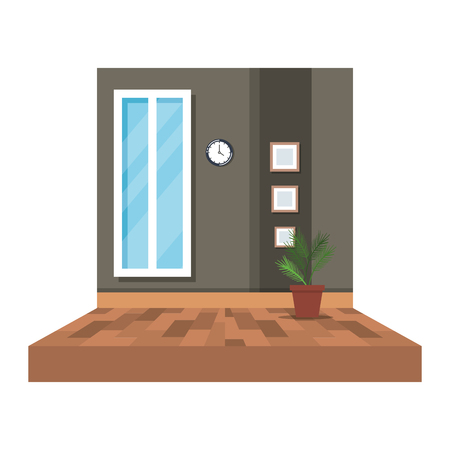 office corridor with houseplant vector illustration design