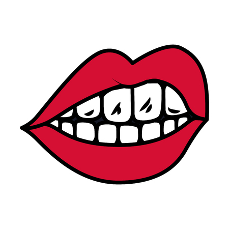 female mouth isolated icon vector illustration design