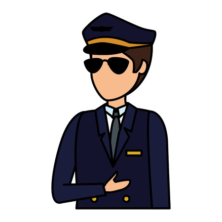 aviation pilot avatar character vector illustration design