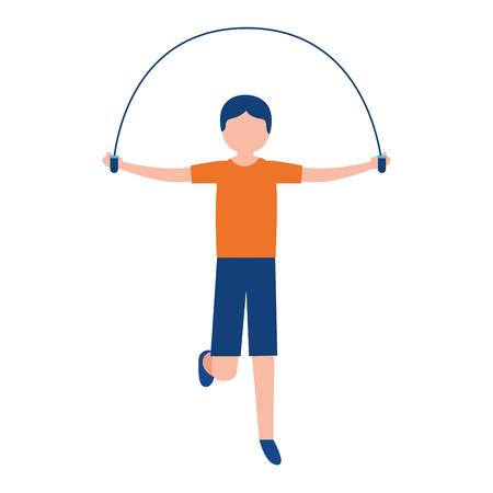 sporty man jumping rope activity vector illustration Vecteurs