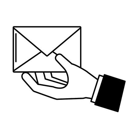 Mano con diseño de ilustración de vector de sobre de correo