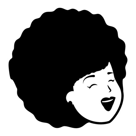 african american woman face on white background