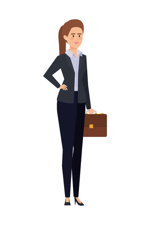 elegant businesswoman with portfolio vector illustration design Imagens - 122789891