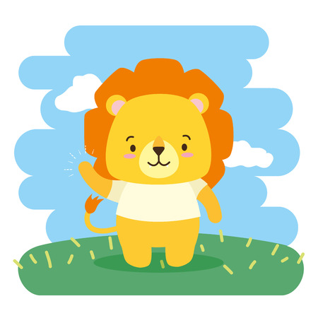 cute lion animal cartoon vector illustration design Vectores