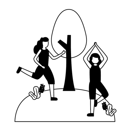 women training exercise in the park vector illustration