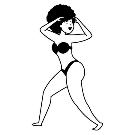 Tänzerin im Badeanzug-Charakter auf weißem Hintergrund-Vektor-Illustration Vektorgrafik
