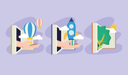 Journée mondiale du livre manuels de la littérature connaissances vector illustration Vecteurs