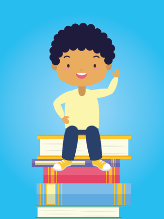 boy sitting books stacked world book day vector illustration