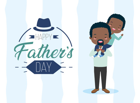 happy fathers day man carrying her son vector illustration Illustration