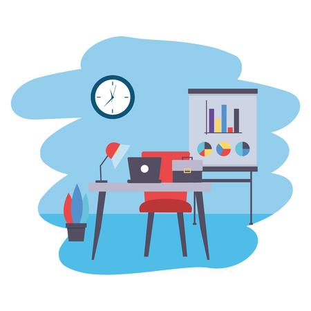 desk board laptop briefcase clock office workplace vector illustration Иллюстрация