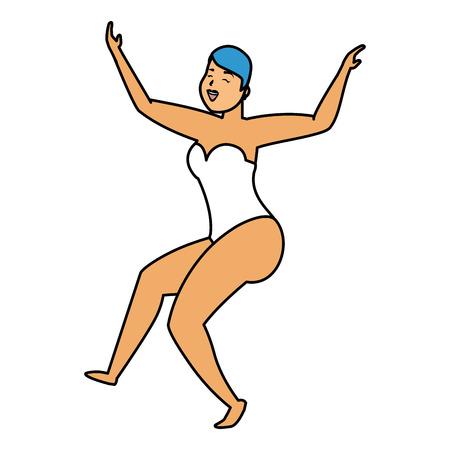 dancer woman in swimsuit character on white background vector illustration Stock Illustratie