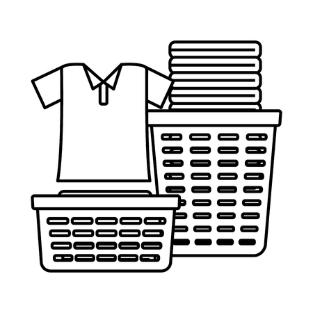 laundry baskets spring cleaning tools vector illustration Illustration