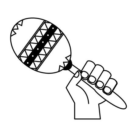 mano con illustrazione vettoriale di strumento musicale maraca