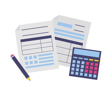 Steuerzahlung Dokument Rechner Stift Vektor-Illustration