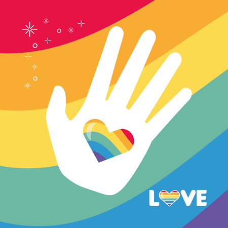hand heart flag rainbow lgbt pride love vector illustration Illustration