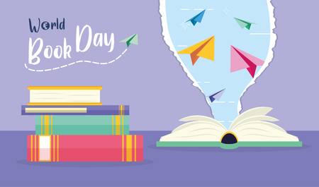 textbook paper planes torn - world book day vector illustration