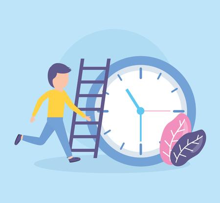 Homme d'affaires horloge temps escaliers travail vector illustration Vecteurs