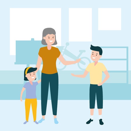 mom with son and daughter vector illustration vector illustration design