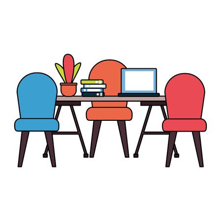 office desk laptop books plant workplace vector illustration Foto de archivo - 122803518