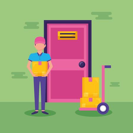 man cargo box fast delivery vector illustration Ilustrace