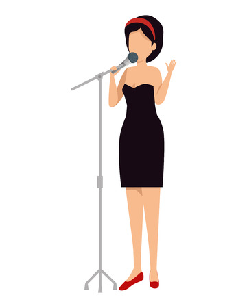 woman singing with microphone vector illustration design  イラスト・ベクター素材