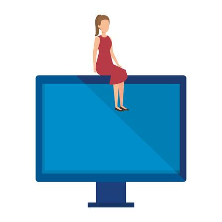 elegant businesswoman sitting in computer display vector illustration 向量圖像