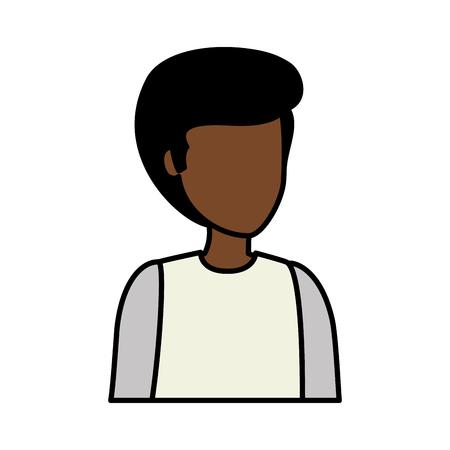 young black man avatar character vector illustration design