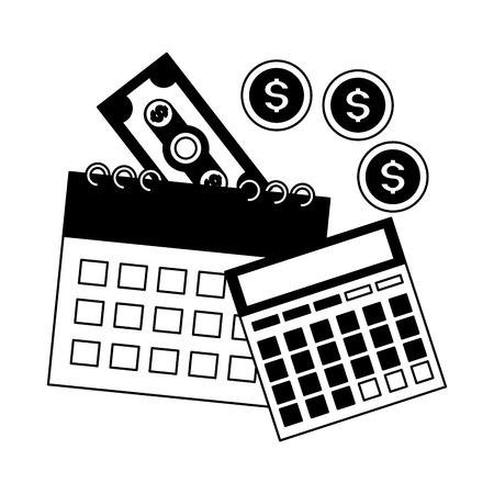 calcolatrice calendario banconote monete denaro pagamento tasse illustrazione vettoriale
