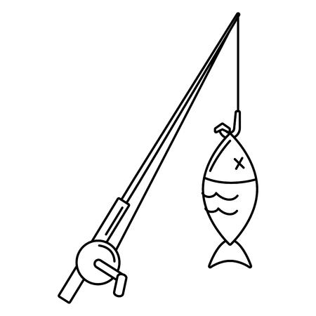 fish and fishing rod hook ribbon emblem vector illustration