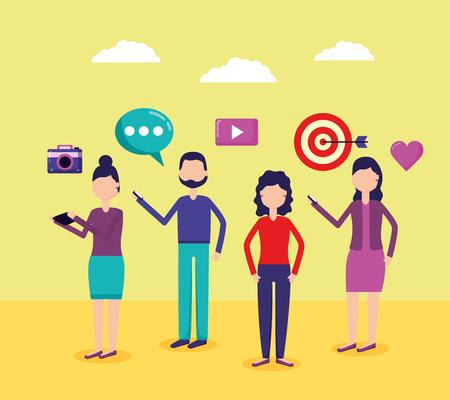 people using mobiles chatting social media vector illustration Stock Illustratie