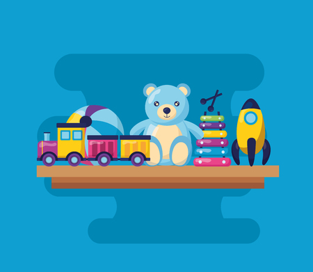 kids toys bear train  xylophone rocket ball vector illustration Çizim