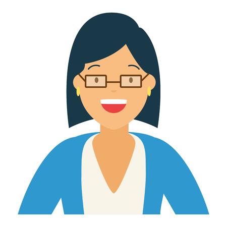 Frauencharakterporträt auf weißer Hintergrundvektorillustration Vektorgrafik