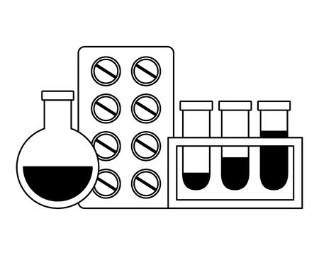 medical flasks and pills medicine pharmacy vector illustration