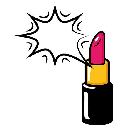 lipstick makeup speech bubble pop art elements vector illustration
