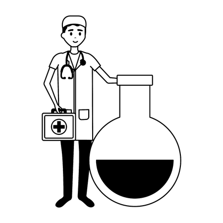 doctor medical suitcase flask chemistry vector illustration Ilustracja