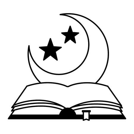 holy quran half moon ramadan kareem vector illustration design