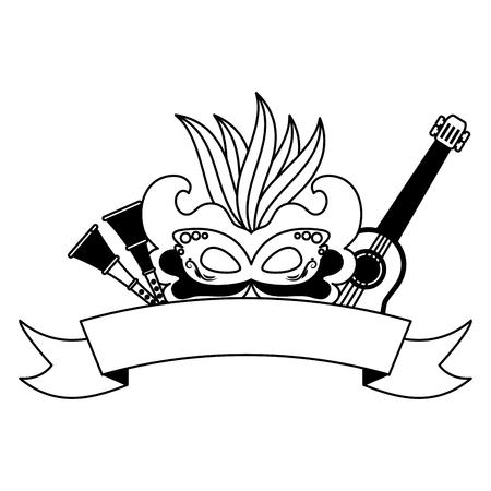 mask guitar horns brazil carnival festival vector illustration