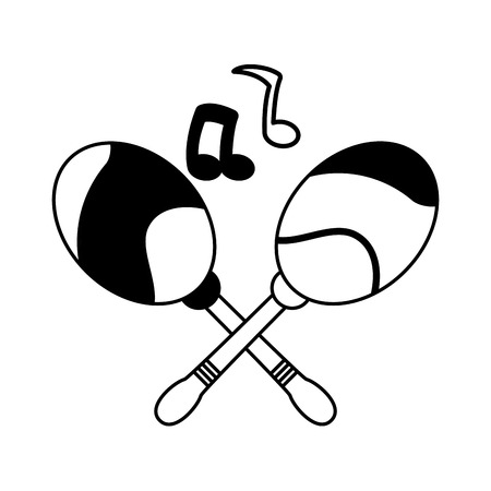maracas note musical brazil carnival vector illustration