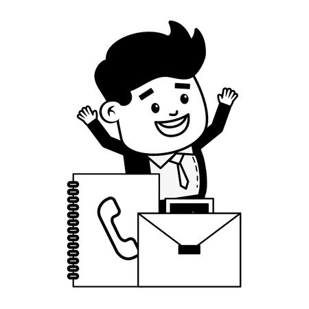 businessman address book and suitcase online payment vector illustration Illustration