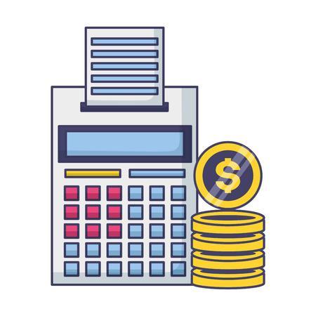 Calculadora monedas dinero pago de impuestos ilustración vectorial