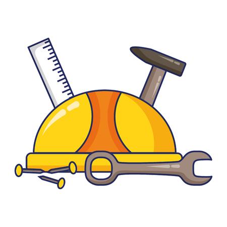 helmet ruler hammer screw spanner labour day vector illustration