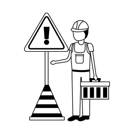 construction worker box traffic cone alert sign vector illustration